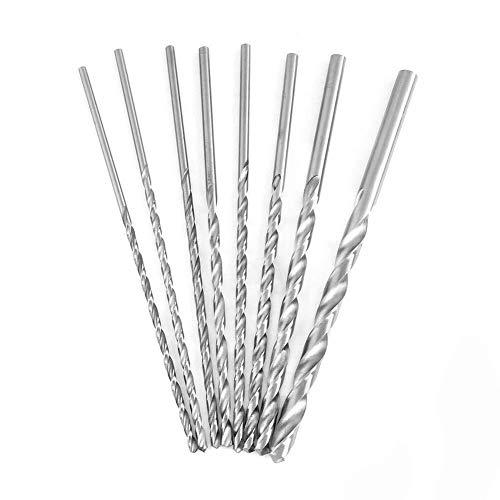 TIN-YAEN Drill 8 PCS HSS Twist Drill Bit Set,Extra Long High-Speed Steel Straight Shank Twist Drill Bit Tool 4-10mm for Wood Drill
