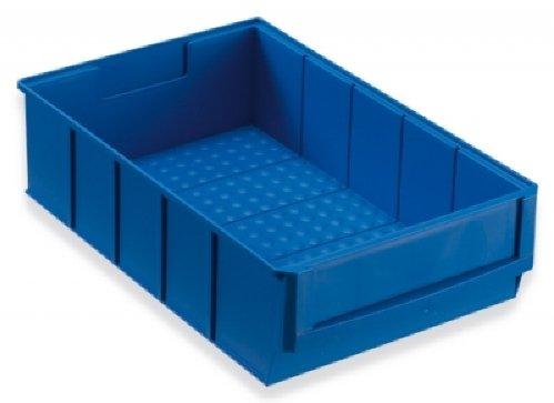 12 Industrieboxen Regalboxen Stapelboxen Lagerboxen blau 300x183x81 mm