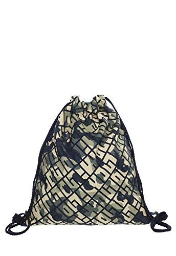 Loomiloo Outline Army patroon leger camouflage print tas gymtas rugzak jute tas sporttas gymtas fullprint all-over volledig bedrukte Loomiloo