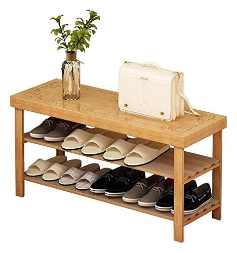 lcy Botas Zapato Rack Banco Gabinete de Almacenamiento de bambú 2 Niveles de Entrada Moderna Simple Organizador de Armario de Madera Tallado con Almohadilla versátil Polvo