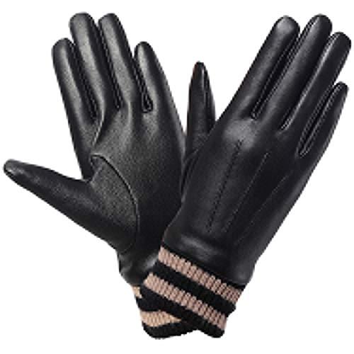 Harrms Damen Handschuhe Winter FULL-HAND Touchscreen Echt Leder Warm Gefüttert Smartphone Frauen Lederhandschuhe,Schwarz, XX-Large