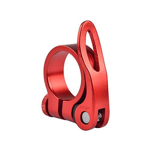 Ruifu アルミ合金 軽量 クイックリリース ンシートポストクランプ 取り付け簡単 31.8 34.8mm (レッド, 31.8mm)