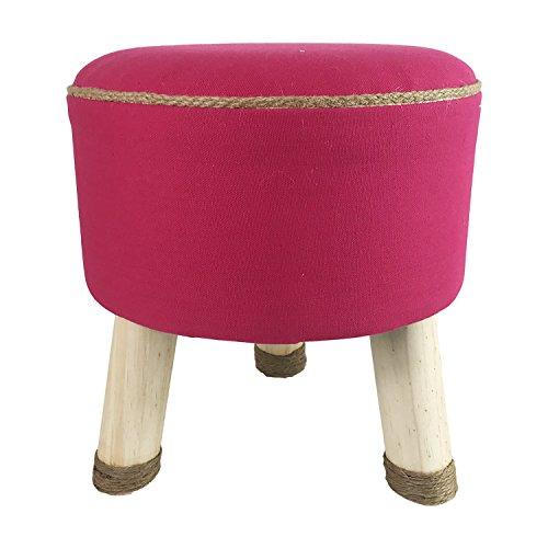 Mojawo Schöner Fußhocker Sitzbank Schemel Hocker Sitzhocker Echtholz mit Stoffbezug Pink mit Jutenath Ø32cm H33cm