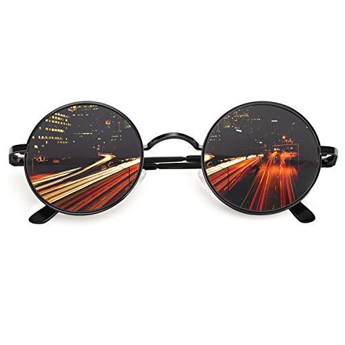 CGID Retro Vintage Sonnenbrille, inspiriert von John Lennon, polarisiert mit rundem Metallrahmen, für Frauen und Männer Schwarz Grau E01