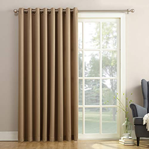 """Sun Zero Barrow Extra-Wide Energy Efficient Sliding Patio Door Curtain Panel with Pull Wand, 100"""" x 84"""", Taupe"""