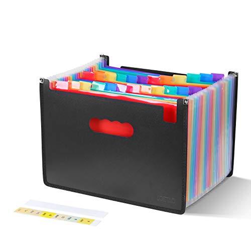 LOETAD Cartella Portadocumenti per Ufficio A4 Porta Documenti Espandibile 24 tasche Impermeabile Multicolore Struttura a Fisarmonica