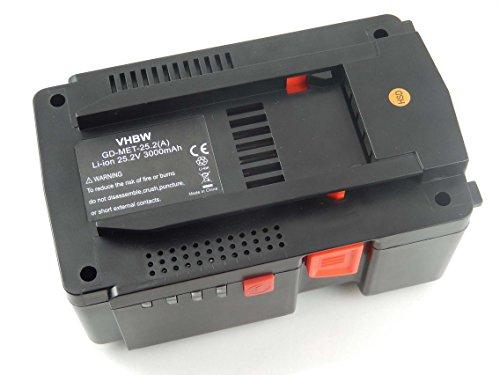 vhbw Li-Ion Batería 3000mAh (25.2V) para su herramienta electrónica Metabo KHA24, MAG 28 LTX32 por 6.254376, 6.00190.50, 6.25489, 6.25489.00.