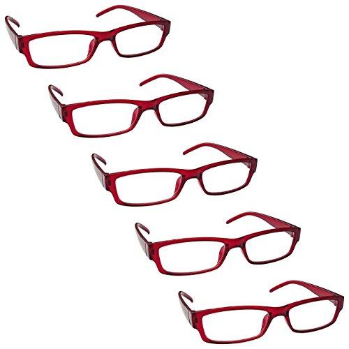 The Reading Glasses Company Gafas De Lectura Rojo Valor Pack 5 Ligero Hombres Mujeres Rrrrr32-Z +1,00 5 Unidades 106 g