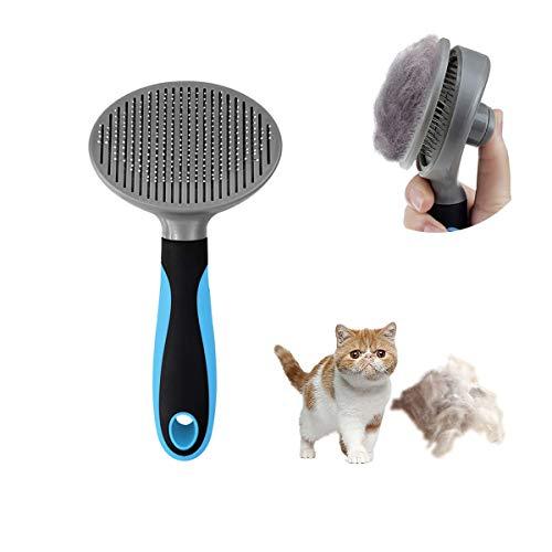 minzhenamz Cepillo para gatos y perros con botón de limpieza, una llave, cepillo autolimpiable, cepillo antifilzungbürste antialérgico, contra la caída del cabello para pequeños animales