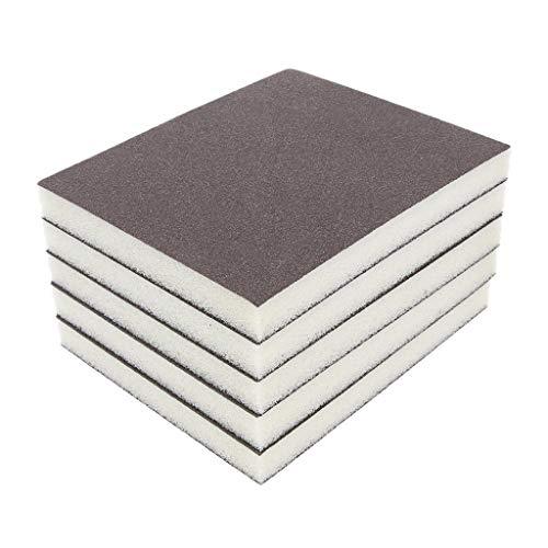 DOLITY Esponja abrasiva, 5 unidades, color gris, espuma abrasiva, 150 agarres, 2 lados, revestimiento de grano abrasivo