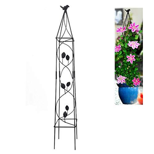 Rankgitter Metall,Obelisk Rankhilfe für Kletterpflanzen,Spalier Garten,Schmiedeeisen Käfig Wetterfeste Pflanze Klettergerüst,Geeignet für Gartenbalkon Innenhof,100 cm Hoch,Schwarz