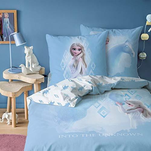 Frozen de Cama de 140 x 200 cm + Funda de Almohada de 63 x 63 cm, 100% algodón
