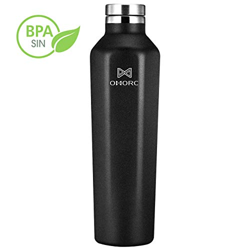 OMORC Botella Agua Acero Inoxidable, Botella Agua Aislada al Vacío de Conserva Frío Doble Pared, 620ml Botella Acero Inoxidable 316 sin BPA, para Gimnasio, Oficina, Deportes, Fácil de Limpiar