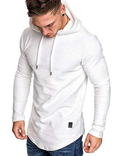 Mens Fashion Athletic Hoodies Sport Sweatshirt Solid Color Fleece Pullover White L