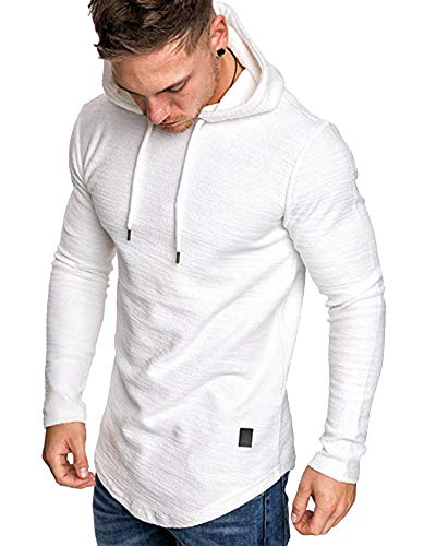 lexiart Mens Fashion Athletic Hoodies Sport Sweatshirt Solid Color Fleece Pullover White XL