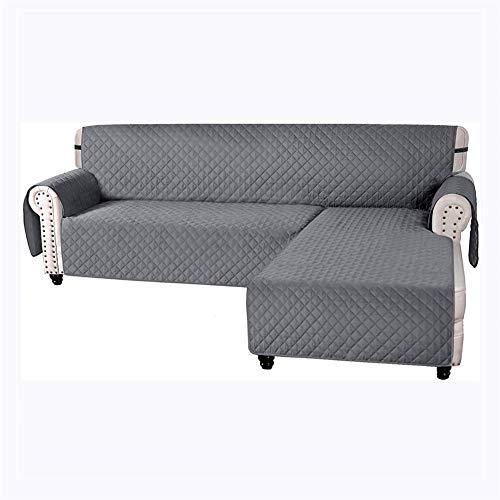 Funda de sofá impermeable, gran funda para sofá, acolchada y gruesa, para cojín, protector de mascotas y perros (gris, L)