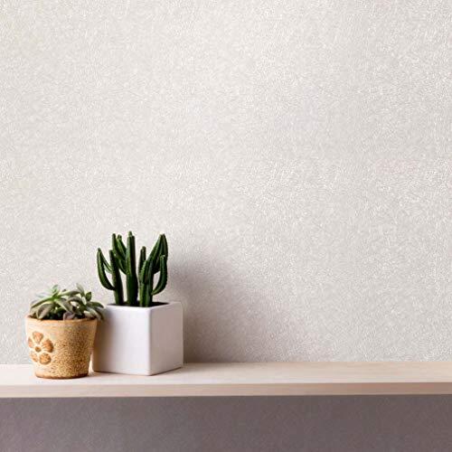 Papel Pintado Autoadhesivo Papel tapiz Pegatina de Mueble Seda Mural PVC cinta adhesiva 61 x 500 cm decoración aplicable a dormitorios Salones oficinas - Blanco crema