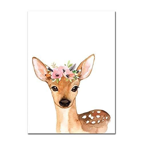 Woodland Animal Print Kindergarten Leinwand Malerei Benutzerdefinierter Name Wandkunst Rosa Blumen Poster Nordische Wandbilder Baby Girl Room Decor U 21x30cm ohne Rahmen