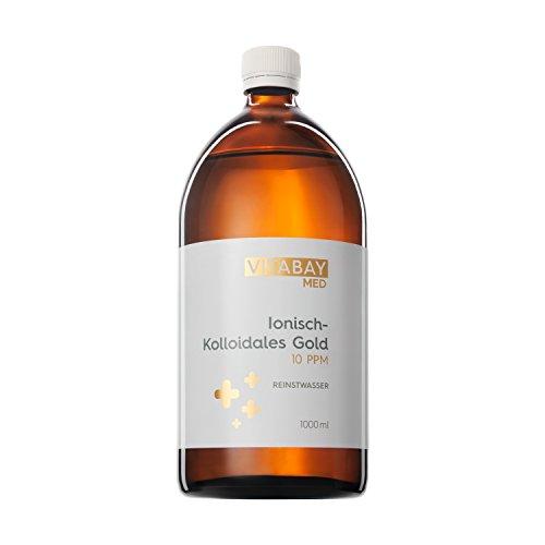 Vitabay Kolloidales Gold 10 PPM • 1000 ml • Hochdosiert • Reinheitsstufe 99,99% • Braunglasflasche