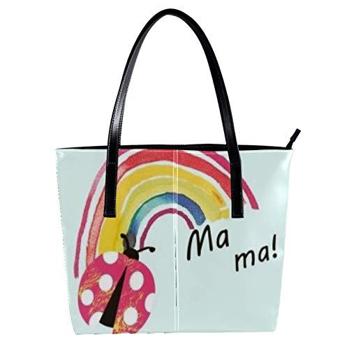 Rainbow Seven Star Ladybug Women's PU Leather Fashion Handbag Top-Handle Shoulder Bags Totes Purses