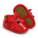 Babelvit Baby Girls Premium Sparkly Mary Jane Flats Wedding Bowknot Princess Dress Shoes Rubber Sole PU Leather Infant Toddler Walking Shoes Moccasins Crib Shoes