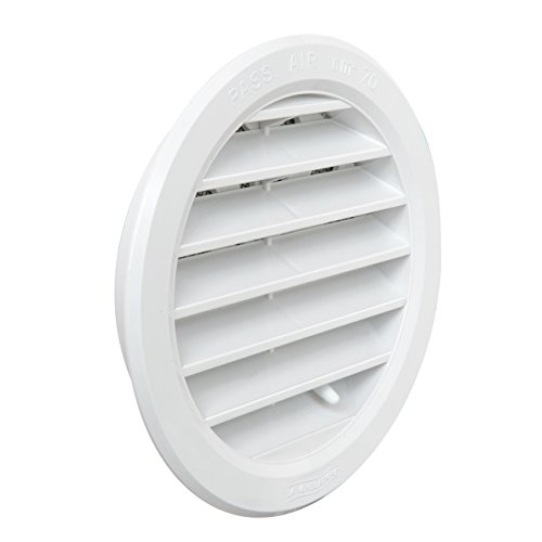 La Ventilazione T10DRB Griglia di Ventilazione in Plastica Tonda da Incasso, Bianco, diametro 120 mm