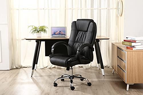 Cadeira Presidente Giratória Almofadada para Escritório Preta - LMS-BE-8-661