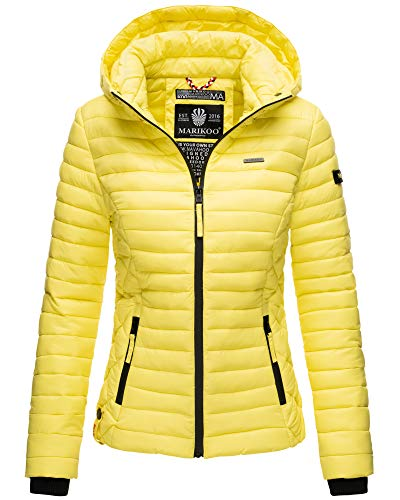 Marikoo Damen Übergangsjacke Steppjacke mit Kapuze gesteppt 19 Farben XS-XXL Samtpfote (S, Lemon)