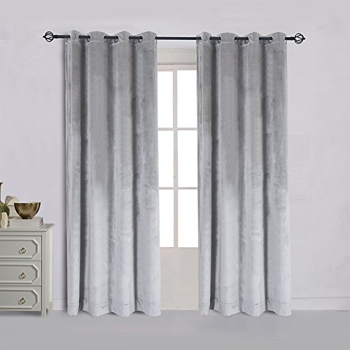 Cherry Home Super Soft Luxury Velvet Texture Curtains Smoky Silver Gray Classic Blackout Curtains Panels Home Theater Grommet Drapes Eyelet 52Wx72L inch Light Grey,2 Panels
