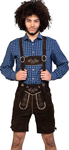 Almwerk Herren Trachten Lederhose kurz Modell Sepp in schwarz, braun und Hellbraun, Farbe:Braun;Größe Herren:50