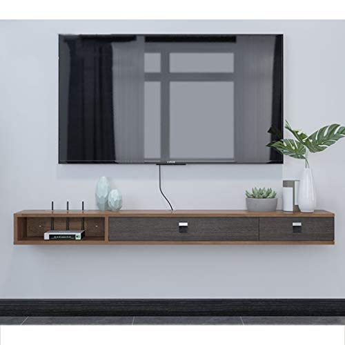 WWWANG Aan de muur bevestigde TV Rack Shelf Cabinet Media Entertainment Console Game Open kast met 3 laden Home Meubelen (Color : Gray+brown, Size : 140cm)