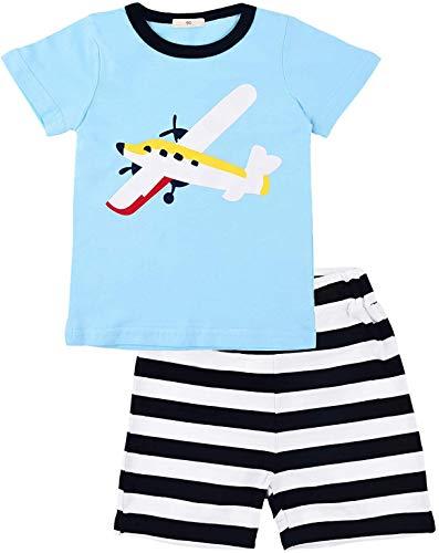 EULLA Jungen Zweiteiliger Schlafanzug Baumwolle Kurzarm Nachtwäsche Flugzeuge/Segeln Kinder Pyjama, 02 Blau, 92 (Herstellergröße: 90)