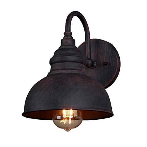 Lámpara de pared retro para exteriores Lámpara de pared industrial antigua Lámpara vintage de aluminio fundido a presión Luz impermeable Color óxido 1 llama Pantalla de metal E27 Pared Pasillo Escale