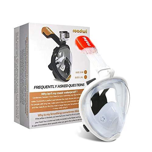 roadwi Anti-Nebel Panorama Vollgesichtsmaske Mit Kamerahalterung, Schnorchelset für Erwachsene und Kinder Tauchen(Weiß,L/XL)