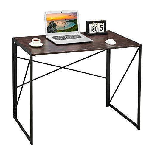 Coavas Schreibtisch Arbeitstisch Computertisch Klappbar Konferenztisch, Laptoptisch Industrial Style, für Home und Büro, Rotbraun, 100 x 50 x 75 cm