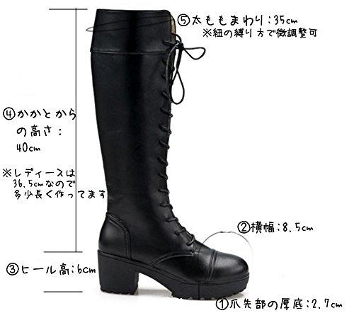 『Mille Ti Rana 編み上げ レースアップ 厚底 ロング ブーツ 黒 26 26.5 27 27.5 大きいサイズ 収納袋 2点セット 26cm』の2枚目の画像