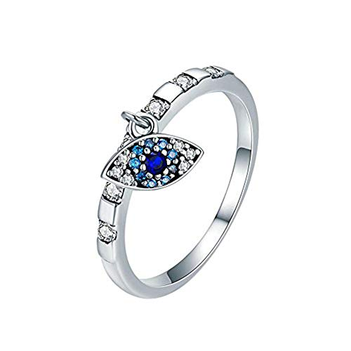 Fengteng Elegant Damenring Silber Strass mit Blau Farbe Augen Evil Eye Ring Auge Anhänger (52 (16.6))