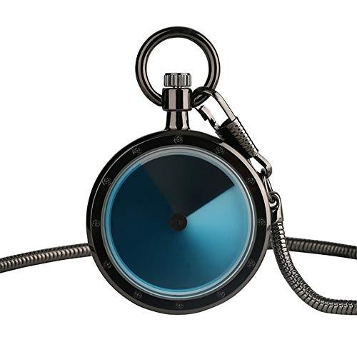 DYH&PW Taschenuhr Vintage Violet Retro Dial Taschenuhr Männer Frauen Allmähliche Änderung Plattenspieler Farbe Fall Quarzuhr