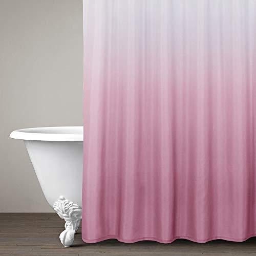 Ombre Duschvorhang, Pink für Badezimmer, wasserdicht, graduelles Farbdesign, Stoff-Duschvorhanghaken, 183 cm lang, ein Paneel