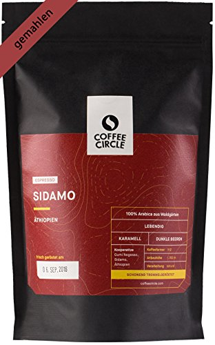 Coffee Circle | Premium Espresso Sidamo | 350g gemahlen | Komplexer Bio Espresso aus dem Hochland Äthiopiens | 100% Arabica | fair & direkt gehandelt | frisch & schonend geröstet