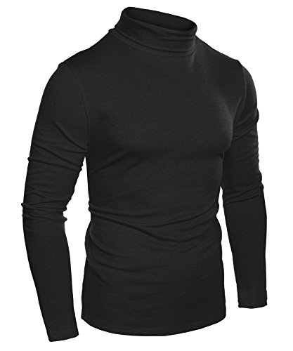 COOFANDY Mens Slim Fit Basic Thermal Turtleneck T Shirts Casual Knitted Pullover Sweaters (Large, Black-000)