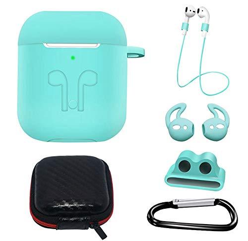Flyorigin AirPods Case 6 in 1 Kit AirPods Accessoire Set Beschermhoes/Anti-verloren (Sport) Lanyards/Horlogebandhouder/Oorhaak/Draagtas Compatibel AirPods 1/2