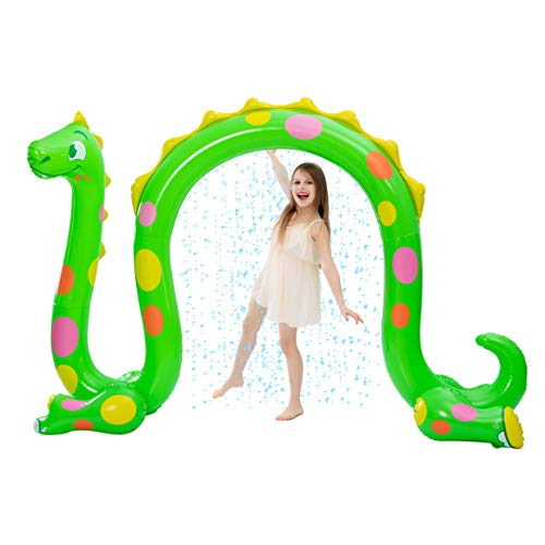JOYIN Inflatable Dragon Arch Yard Sprinkler, Water Lawn Sprinkler Toy for Kids (98.5W x 58.25H)