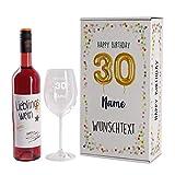 Herz & Heim® Geburtstagsset mit Lieblingswein und graviertem Leonardo Weinglas in Geschenkverpackung 30. Geburtstag