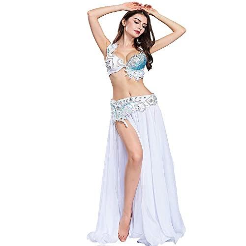ROYAL SMEELA biustonosz do tańca brzucha spódnica z paskiem seksowna sukienka na bellydance profesjonalna wydajność biustonosz pasek i spódnice maxi 3-częściowy zestaw elegancka biała sukienka do tańca 3 szt.