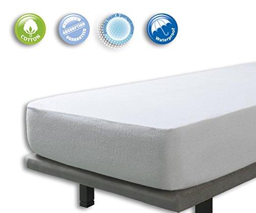 Velfont – Frottee-Matratzenschoner aus Baumwolle, wasserdicht und atmungsaktiv– verfügbar in verschiedenen Größen - 180x190/200cm
