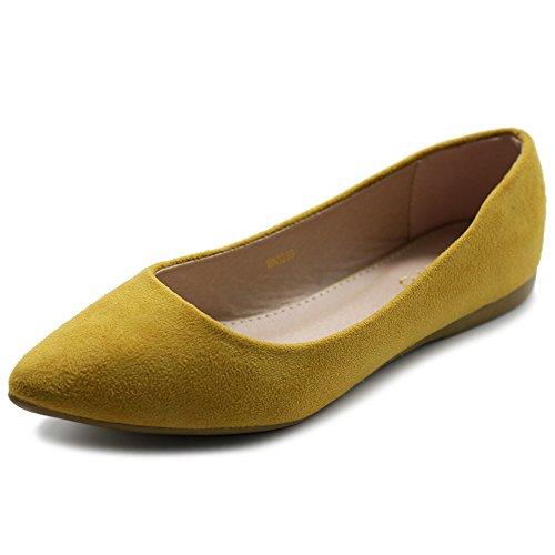 Ollio Women's Ballet Comfort Light Faux Suede Multi Color Shoe Flat ZM1038(10 B(M) US, Mustard)
