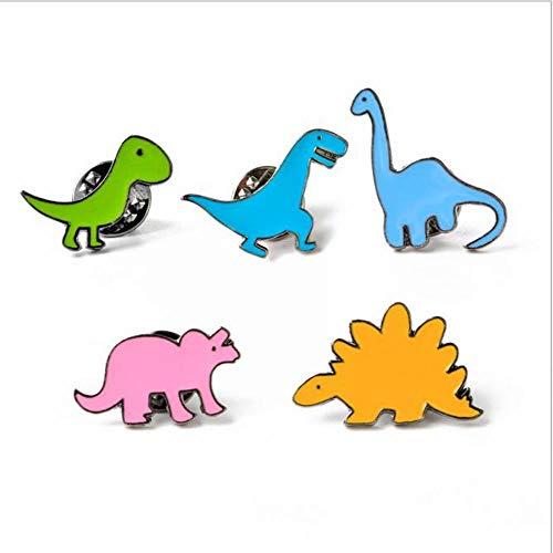 AKAMAS Juego de broche, broche de dinosaurio de juguete infantil, broche de seda para camisa (5 piezas).