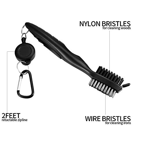 Golf Club Brush and Golf Towel Tool Kit, Golf Club Cleaner with Carabiner Clip, Golf Cleaning Accessories with Waffle Pattern Design, Golf Ball Cleaner Set