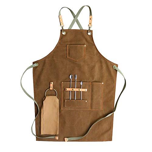 Grembiule in tela Bavaglino in pelle Grembiule da cucina Cuoco Caffè Ristorante con tasche (M, Cachi)
